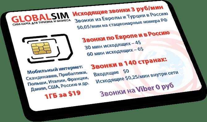 купить сим-карту globalsim дешевые звонки в Россию