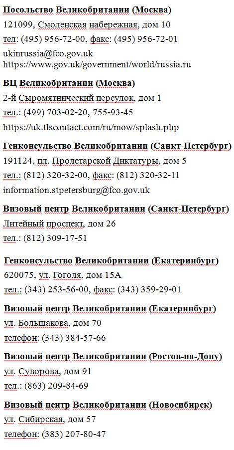 Визовые центры Великобритании в России