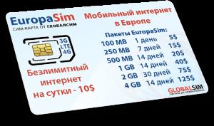 Туистическая сим-карта дешевого мобильного интернета Europasim