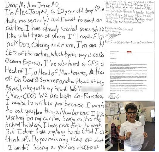 10-летний мальчик хочет открыть свои собственные авиакомпании. Его письмо