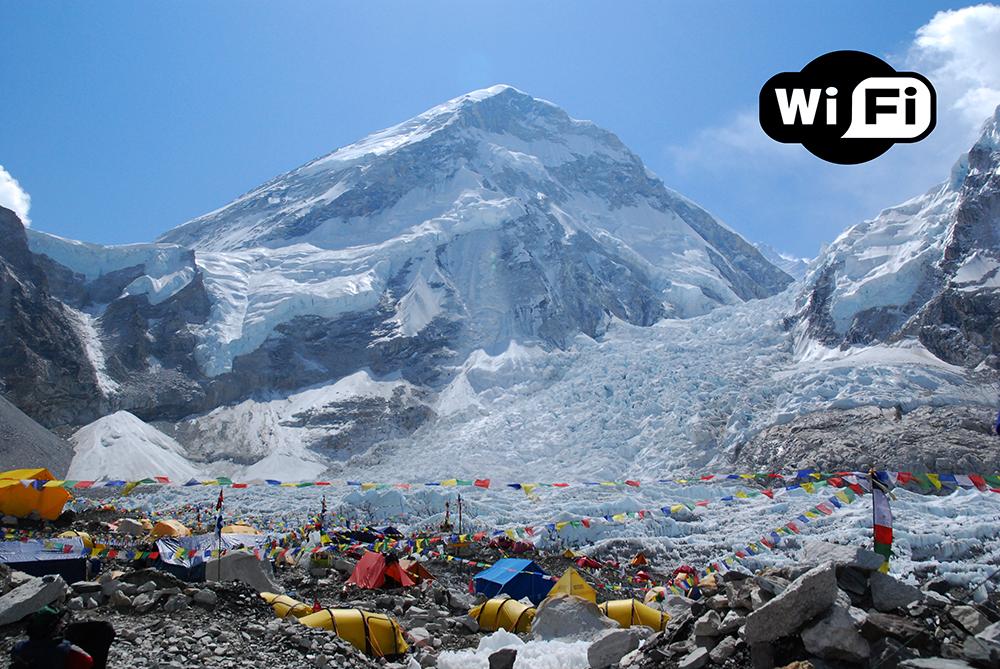Бесплатный Wi-Fi на горе Эверест. Это самое высокое место в мире с интернетом